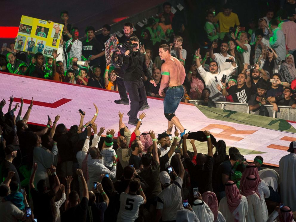 PHOTO: World Wrestling Entertainment star John Cena is greeted by fans during the Greatest Royal Rumble event in Jiddah, Saudi Arabia, April 27, 2018.