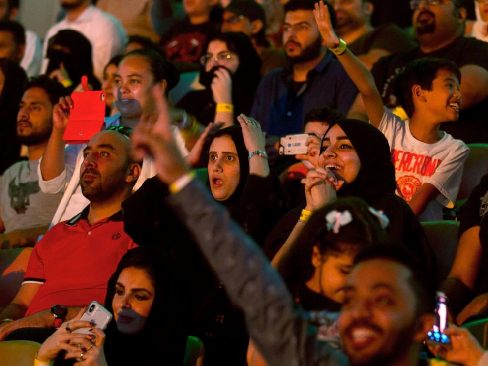 PHOTO: Fans react as they watch the World Wrestling Entertainment Inc.s Greatest Royal Rumble event in Jiddah, Saudi Arabia, April 27, 2018.