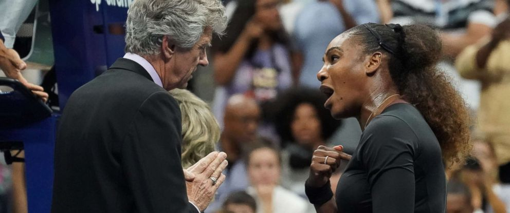 PHOTO: Serena Williams of the United States argues with referee Brian Earley during her Womens Singles finals match against Naomi Osaka of Japan at the 2018 US Open in New York, Sept. 8, 2018.