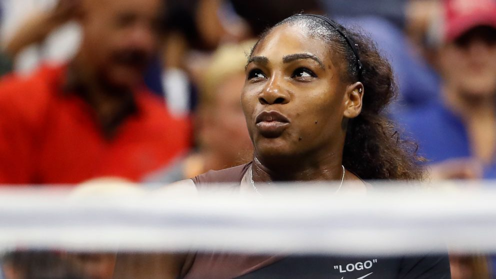Serena Williams talks with chair umpire Carlos Ramos during a match against Naomi Osaka, of Japan, in the women's final of the U.S. Open tennis tournament, Sept. 8, 2018, in New York.