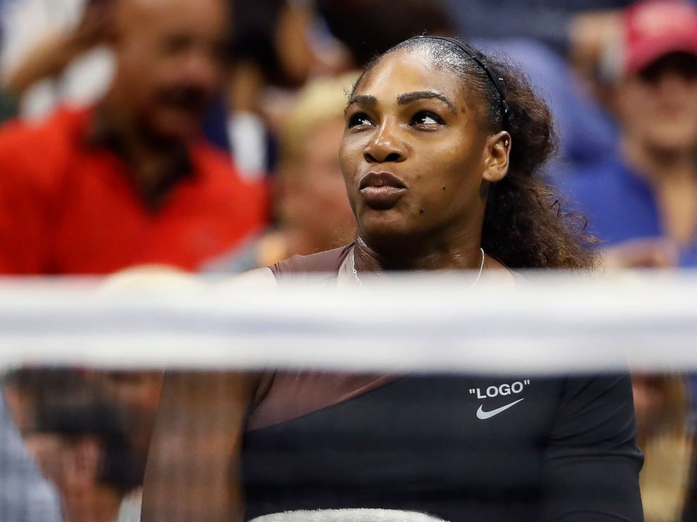 PHOTO: Serena Williams talks with chair umpire Carlos Ramos during a match against Naomi Osaka, of Japan, in the womens final of the U.S. Open tennis tournament, Sept. 8, 2018, in New York.