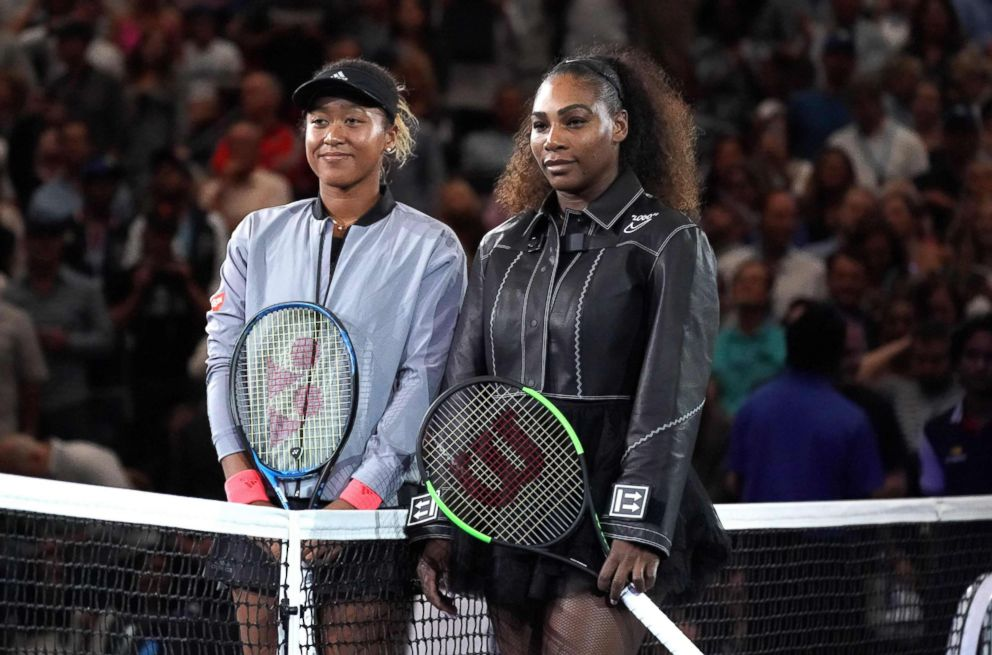 PHOTO: Naomi Osaka of Japan (L) poses with Serena Williams before their Womens Singles Finals match at the 2018 US Open in New York, Sept. 8, 2018.