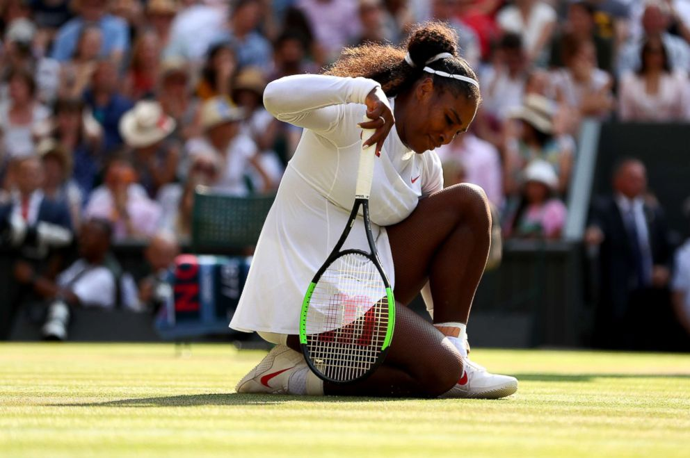 PHOTO: Serena Williams of U.S appears dejected during the Ladies Singles final against Angelique Kerber of Germany on day 12 of the Wimbledon Lawn Tennis Championships at All England Lawn Tennis and Croquet Club on July 14, 2018 in London.