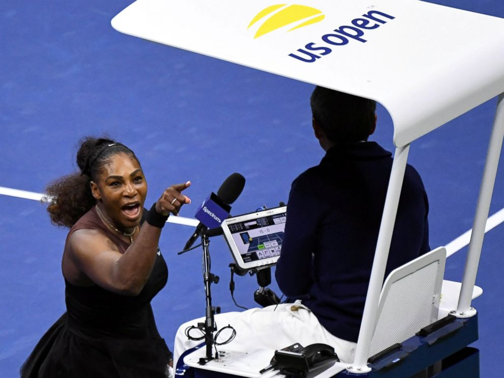 PHOTO: Serena Williams of the United States yells at chair umpire Carlos Ramos in the womens final against Naomi Osaka of Japan on day thirteen of the 2018 in New York, Sept. 8, 2018.