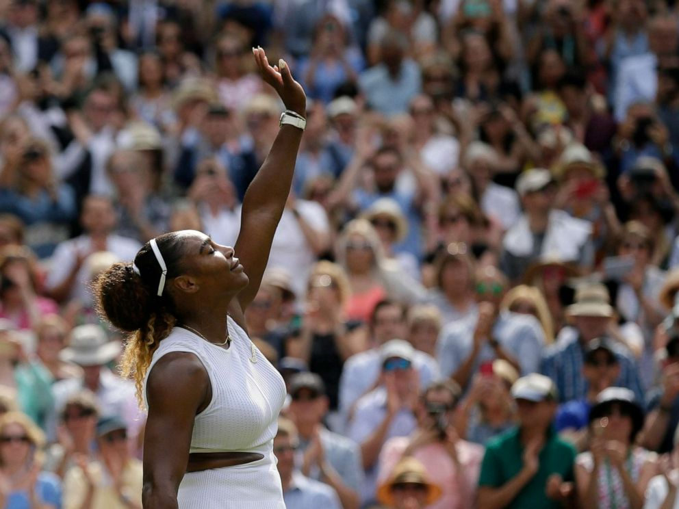 PHOTO: Serena Williams celebrates defeating Czech Republics Barbora Strycova during a womens singles semifinal match on day ten of the Wimbledon Tennis Championships in London, July 11, 2019.