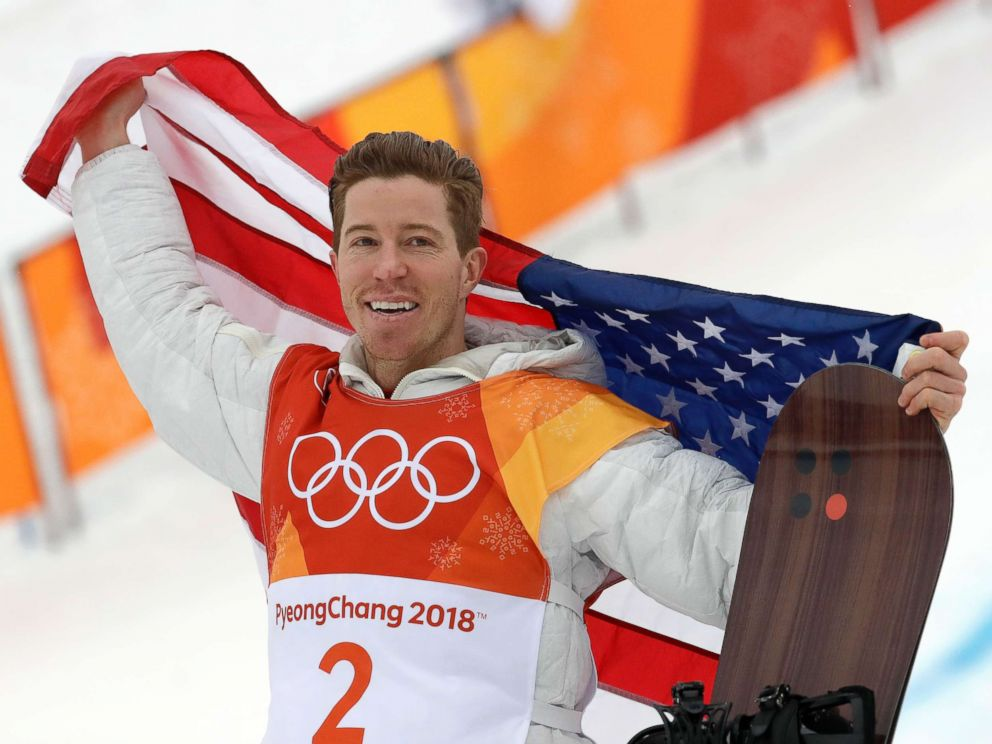 PHOTO: Gold medal winner Shaun White, of the U.S., celebrates after the mens halfpipe finals at Phoenix Snow Park at the 2018 Winter Olympics in Pyeongchang, South Korea, Feb. 14, 2018.