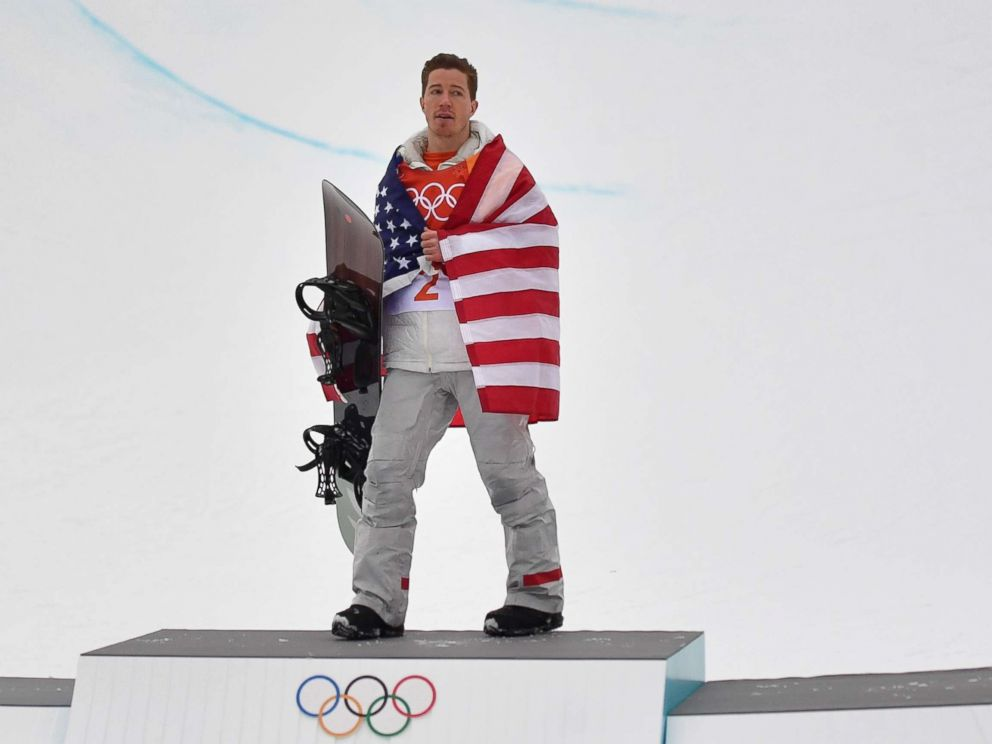 PHOTO: U.S. Shaun White celebrates on the podium during the victory ceremony after the final of the mens snowboard halfpipe at the Phoenix Park during the Pyeongchang 2018 Winter Olympic Games, Feb. 14, 2018, in Pyeongchang, South Korea.
