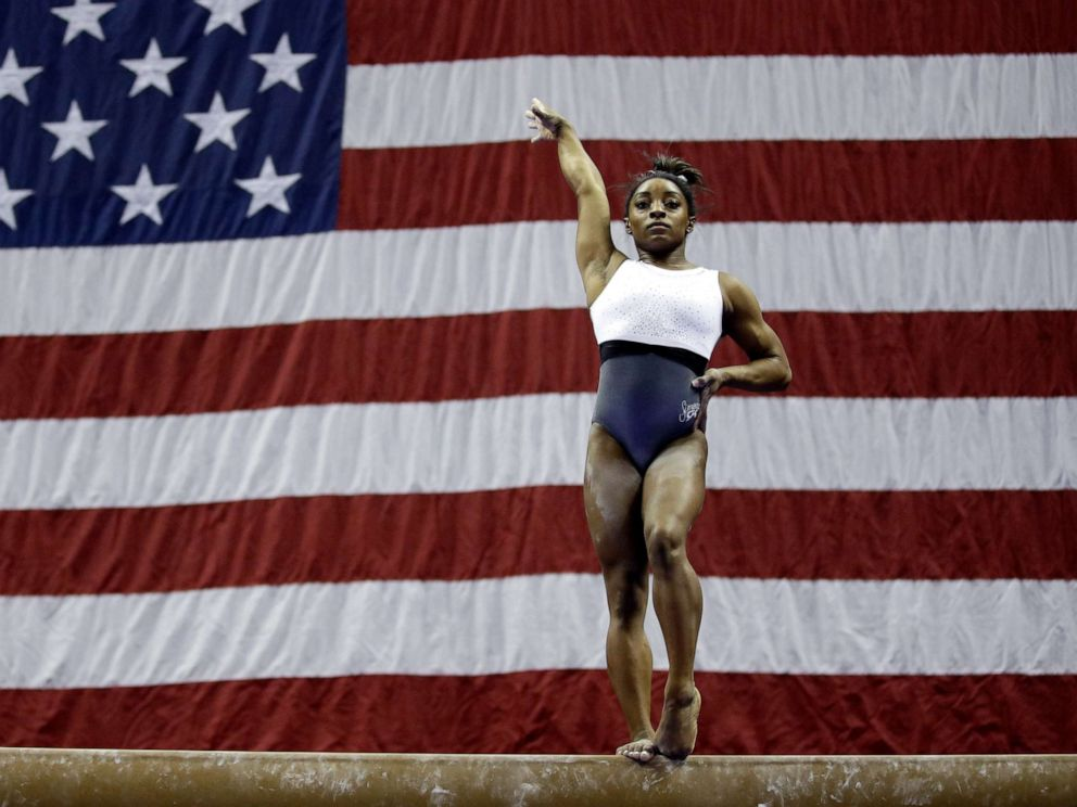 PHOTO: Simone Biles works on the beam during practice for the U.S. gymnastics championships Wednesday, Aug. 7, 2019, in Kansas City, Mo.