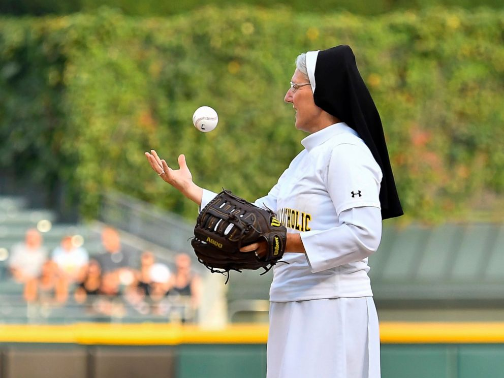A Nun Throws a Terrific First Pitch at a White Sox Game