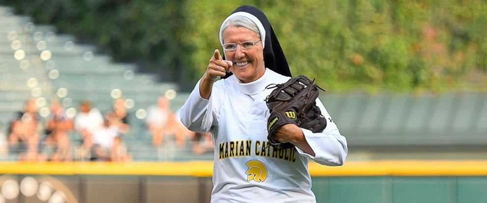 PHOTO: Marian Catholic High Schools Sister Mary Jo Sobieck reacts after throwing the ceremonial first pitch before the game between the Kansas City Royals and the Chicago White Sox on Aug. 18, 2018 at Guaranteed Rate Field in Chicago.