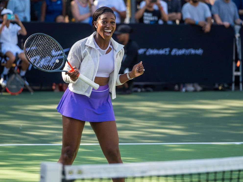 PHOTO: Sloane Stephens attends the Nike Queens of the Future tennis event at the William F. Passannante Ballfield, Aug. 20, 2019, in New York.