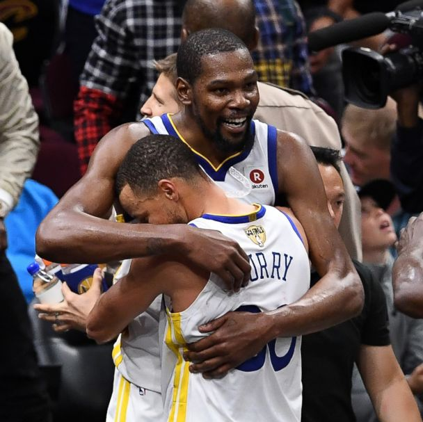790cc52d168 Stephen Curry  30 and Kevin Durant  35 of the Golden State Warriors  celebrate late