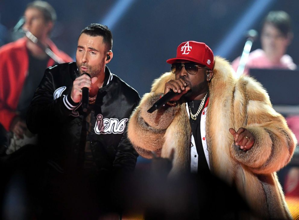 PHOTO: Adam Levine of Maroon 5 and Big Boi perform during the Pepsi Super Bowl LIII Halftime Show at Mercedes-Benz Stadium, Feb. 3, 2019, in Atlanta.