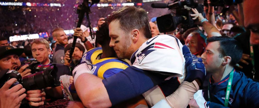 PHOTO: New England Patriots Tom Brady celebrates after winning Super Bowl LIII - New England Patriots v Los Angeles Rams at the Mercedes-Benz Stadium in Atlanta, Feb. 3, 2019.