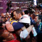 New England Patriots' Tom Brady celebrates after winning Super Bowl LIII - New England Patriots v Los Angeles Rams at the Mercedes-Benz Stadium in Atlanta, Feb.  3, 2019.