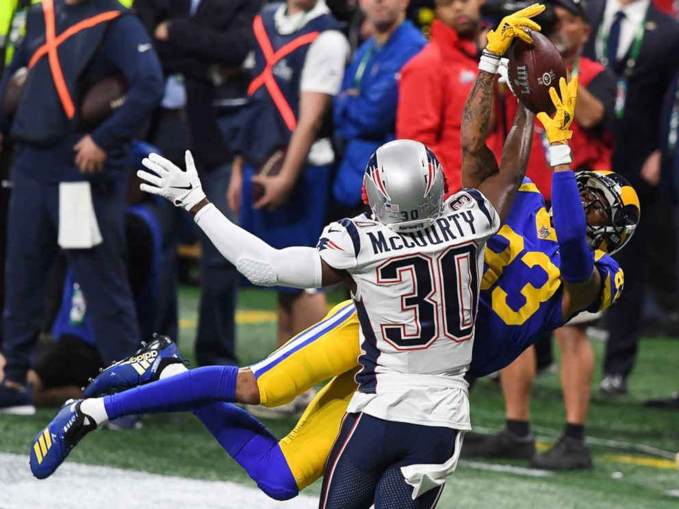 PHOTO: Los Angeles Rams wide receiver Josh Reynolds (83) and New England Patriots cornerback Jason McCourty (30) battle for a pass during the second quarter of Super Bowl LIII at Mercedes-Benz Stadium, Feb 3, 2019, Atlanta.