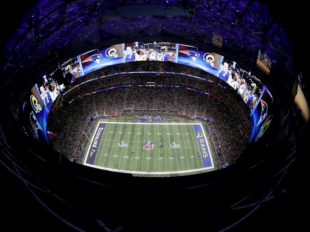 PHOTO: An aerial view inside Mercedes-Benz Stadium in the first half during Super Bowl LIII, Feb. 3, 2019, in Atlanta.