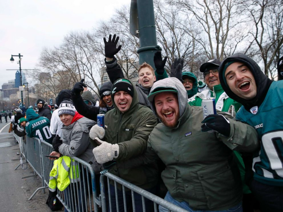 PHOTO: Fans line Benjamin Franklin Parkway before a Super Bowl victory parade for the Philadelphia Eagles NFL football team on Feb. 8, 2018, in Philadelphia.