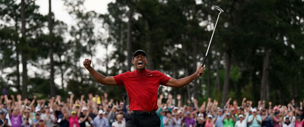 PHOTO: Tiger Woods reacts as he wins the Masters golf tournament, April 14, 2019, in Augusta, Ga.
