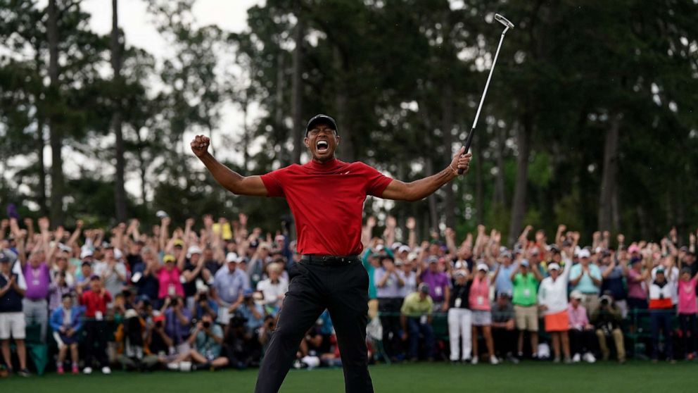 tiger woods roars at the masters  golfer captures 5th