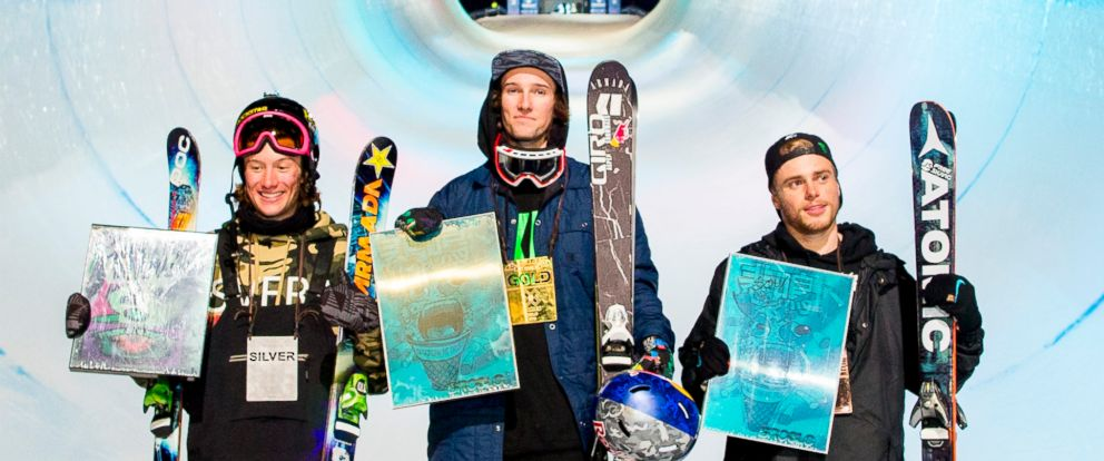 PHOTO: (L-R) Silver medalist Alex Ferreira from USA, gold medalist Torin Yater-Wallace from USA and bronze medalist Gus Kenworthy from USA pose on the podium after freeski men, superpipe, Feb. 28, 2016, at the X Games in Oslo.