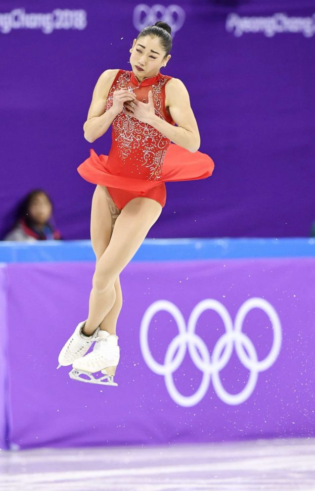 PHOTO: Mirai Nagasu of the United States executes a triple axel in the womens free skate of the figure skating team event in Gangneung, South Korea, Feb. 12, 2018.