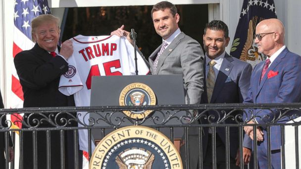 Washington Nationals celebrate World Series win at the White House -- with a political tinge