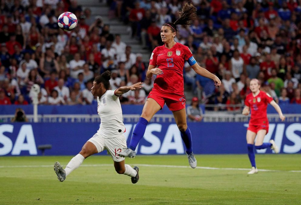 PHOTO: Alex Morgan of the U.S. scores their second goal in the Womens World Cup Semi Final game versus England, July 2, 2019, in Lyon, France.