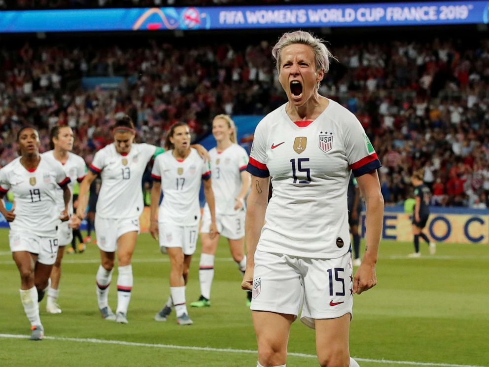 PHOTO: Megan Rapinoe of the U.S. celebrates scoring their second goal in the Womens World Cup Quarter Final game against France, June 28, 2019, in Paris.