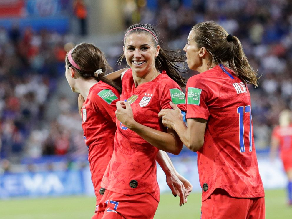 PHOTO: Alex Morgan celebrates after scoring her sides second goal during the Womens World Cup semifinal soccer match between England and the United States, at the Stade de Lyon in Lyon, France, July 2, 2019.