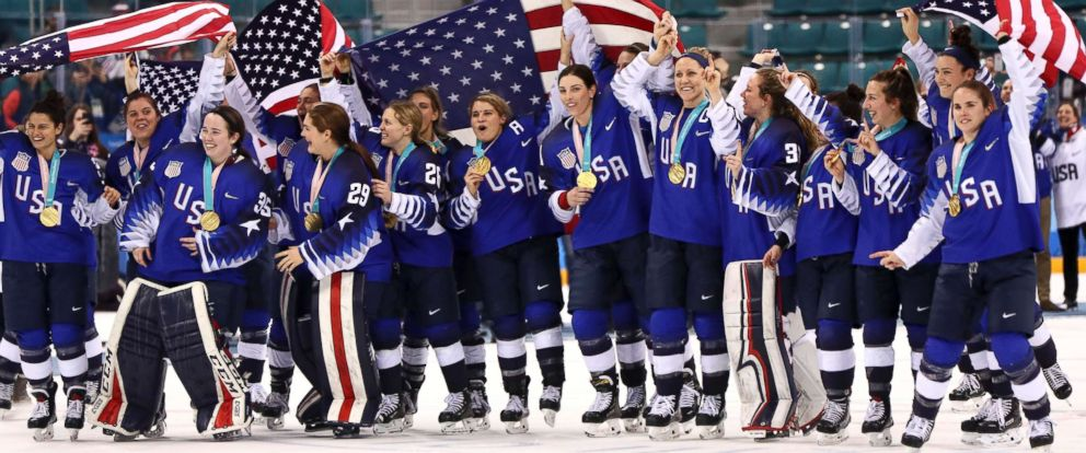 PHOTO: Members of the United States womens hockey team celebrate having won the gold medal after defeating Canada in a shootout, Feb. 22, 2018.