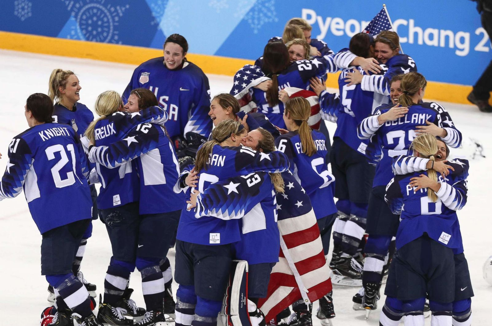 42ecfe03a74 US women s hockey team finally gets gold in dramatic final against rival  Canada - ABC News