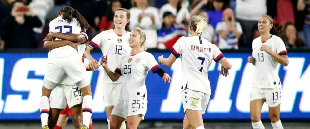 PHOTO: The United States Womens National Team celebrates their 6-0 win over Belgium at Banc of California Stadium, April 7, 2019, in Los Angeles.
