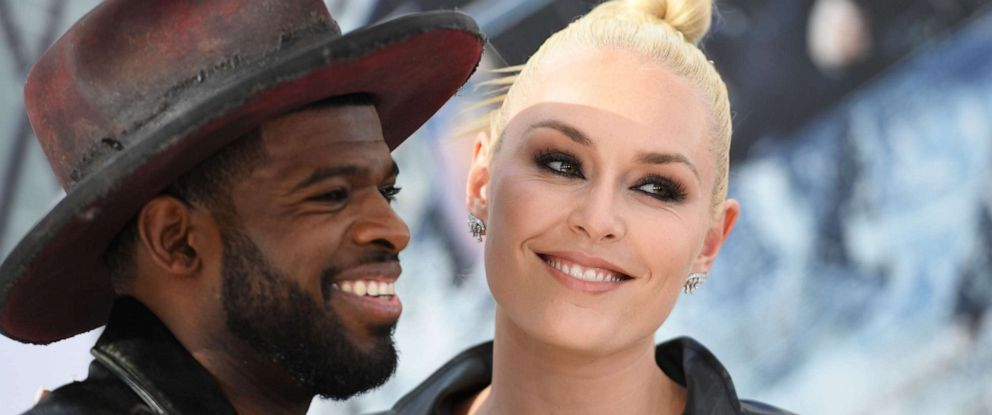 """PHOTO: In this file photo taken on July 13, 2019, Canadian ice hockey player P.K. Subban and U.S. former alpine ski racer Lindsey Vonn attend the world premiere of """"Fast & Furious presents Hobbs & Shaw,"""" at the Dolby Theatre in Hollywood, Calif."""