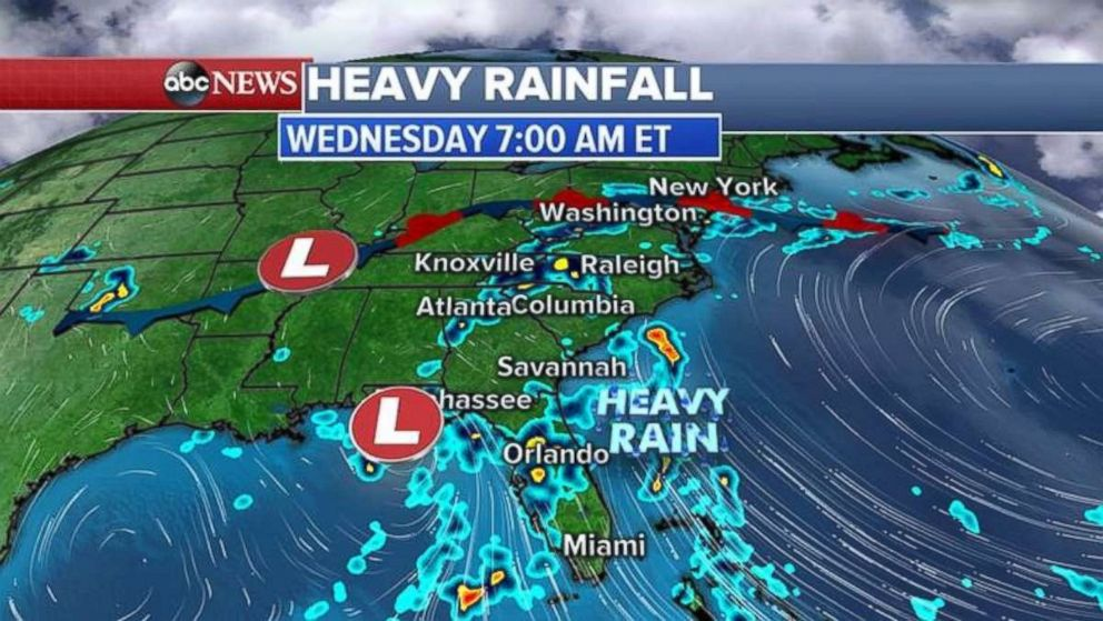 Heavy rainfall today will stretch all the way up to the mid-Atlantic.