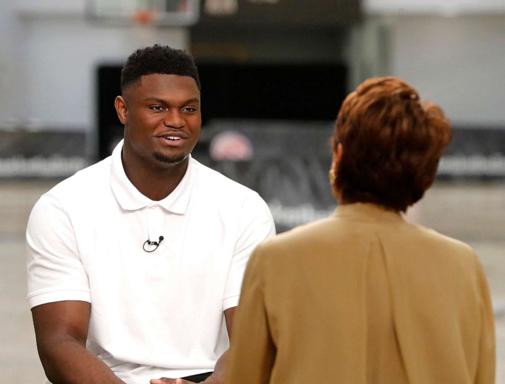 PHOTO: Robin Roberts interviews basketball player Zion Williamson, who is projected to be the first overall pick in the 2019 NBA draft, on Good Morning America, June 18, 2019.