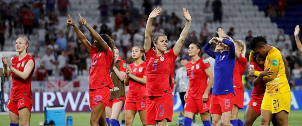 PHOTO: Kelley OHara of the U.S. and teammates celebrate winning the Womens World Cup Semi Final match between England and the US, July 2, 2019, in Lyon, France.