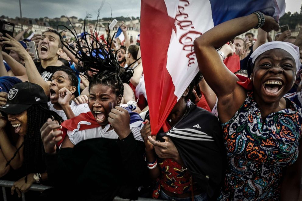 PHOTO: People react as they watch the Russia 2018 World Cup final football match between France and Croatia, on July 15, 2018 in Lyon, France.