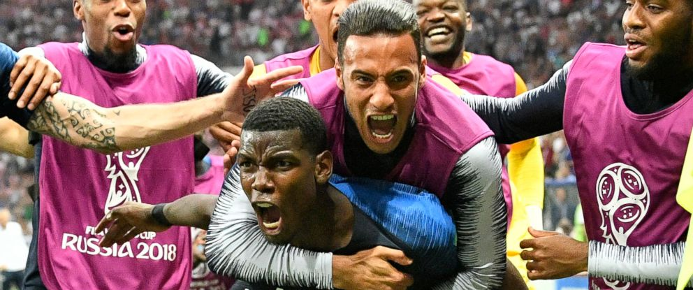 PHOTO: Frances Paul Pogba celebrates after scoring his sides third goal during the final match between France and Croatia at the 2018 soccer World Cup in the Luzhniki Stadium in Moscow, Russia, July 15, 2018.