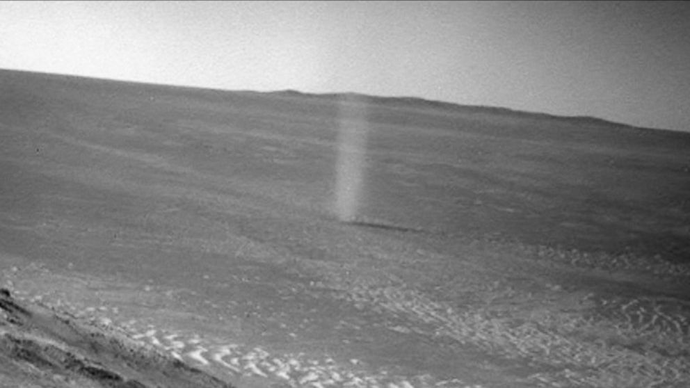 Mars Dust Devil Photobombs NASA Rover's Photo of Its Tracks