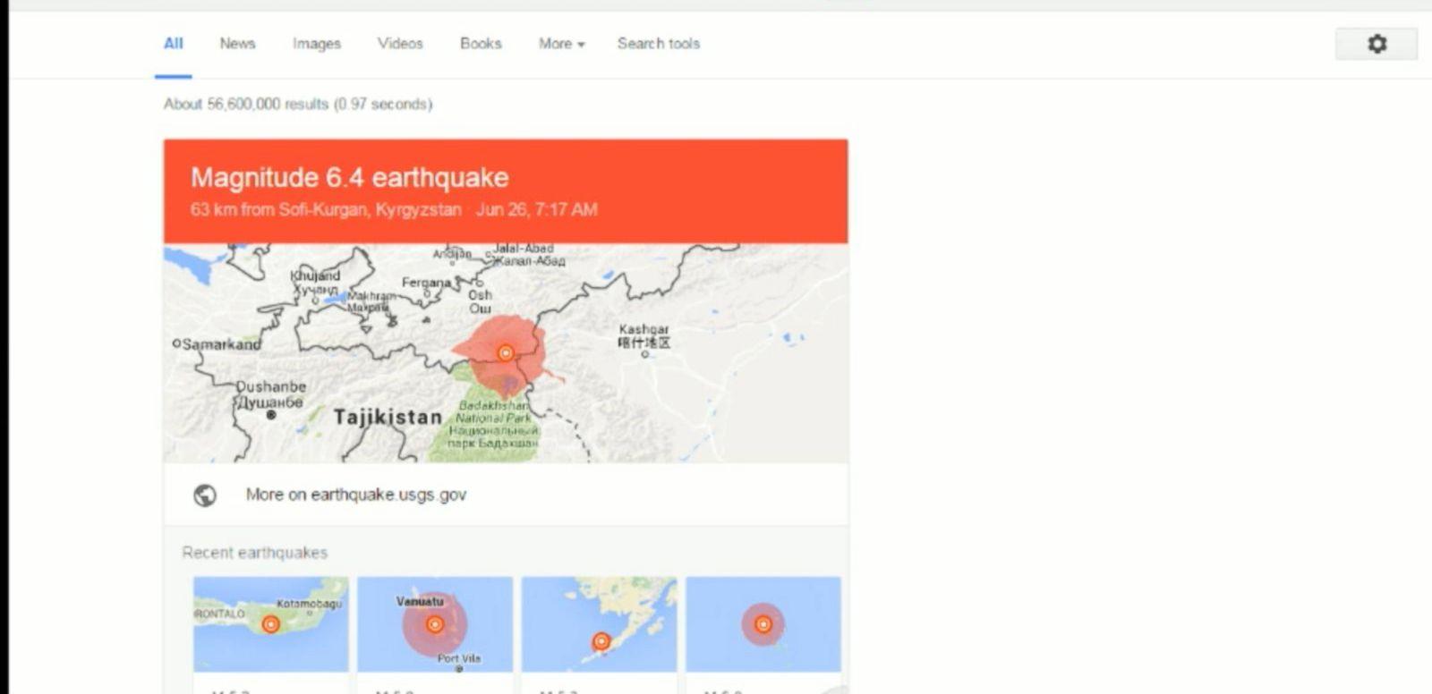 Google Earthquake Alerts