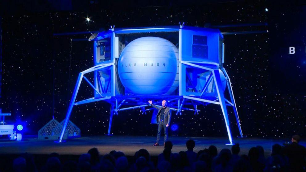 d2e1d6ba5 buffering. Replay. Jeff Bezos's space company unveils lunar lander. The  lander, called