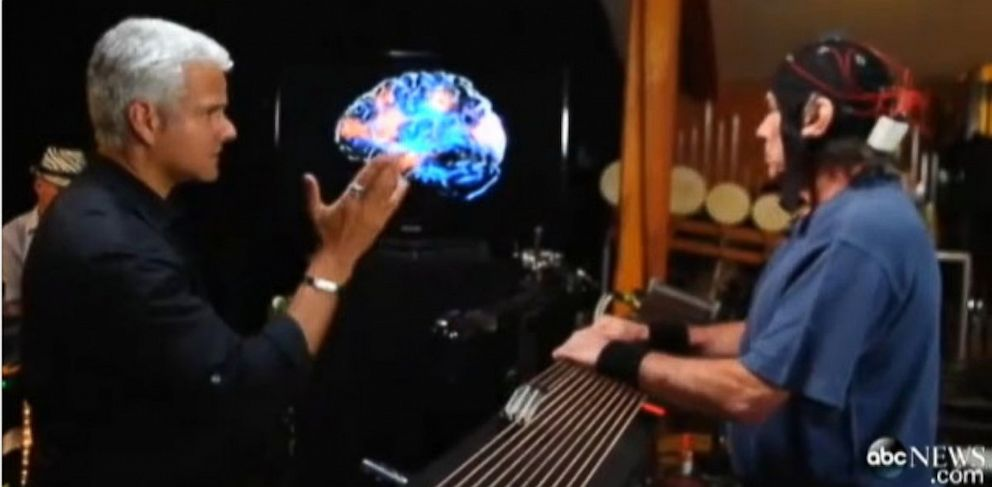 PHOTO: Drummer Mickey Hart wears a specialized EEG helmet to figure out how drum rhythms affect the brains rhythms.