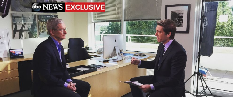 PHOTO: Apple CEO Tim Cook sat down with ABC News anchor David Muir for an exclusive interview addressing the tech giants objection to unlocking an iPhone used by one of the San Bernardino, California, shooters.