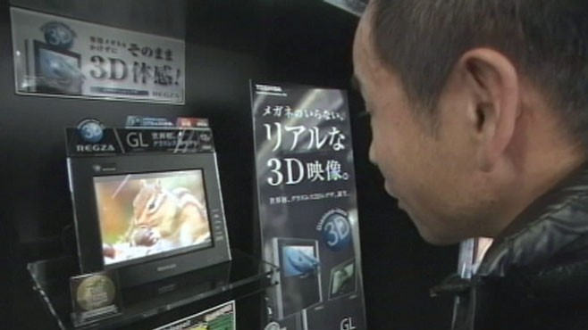 VIDEO: Toshiba begins selling the worlds first 3D TV that doesnt require glasses.