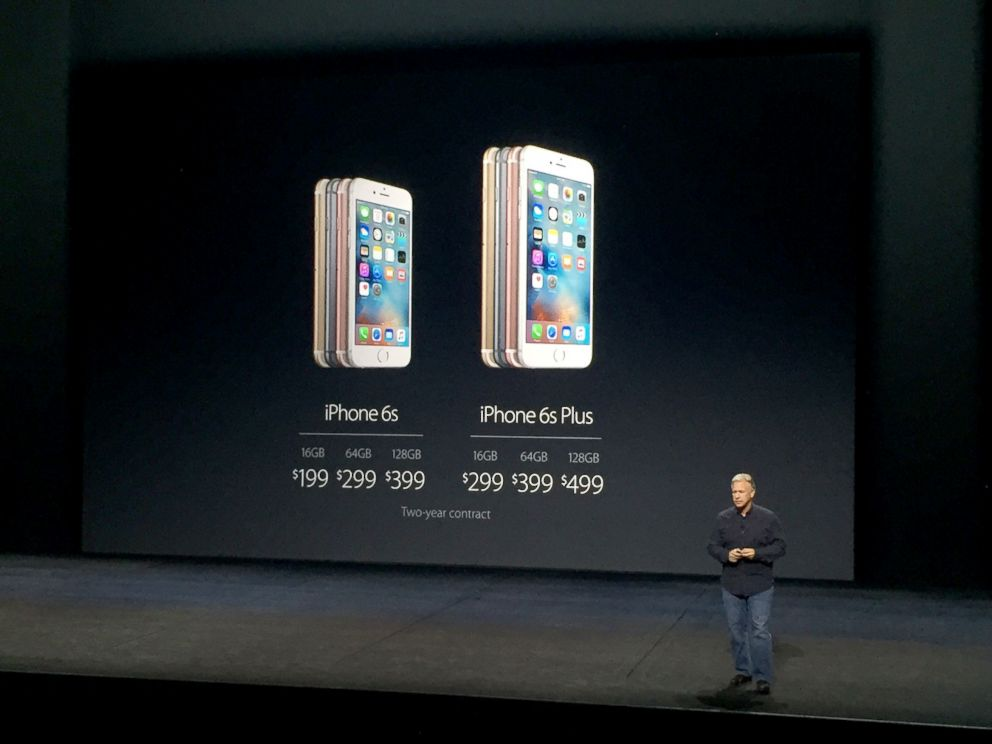 PHOTO: Apple unveils the price of the new iPhone 6S and 6S Plus at the live Apple Event in San Francisco, Sept. 9, 2015.