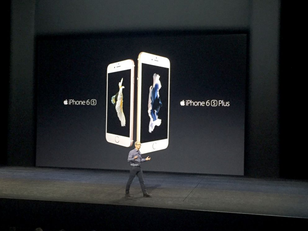 PHOTO: Tim Cook unveils the new iPhones at the live Apple Event in San Francisco, Sept. 9, 2015.