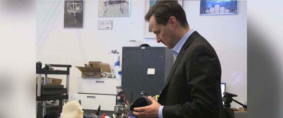 PHOTO: Hugh Herr in his MIT lab where he is designing the next generation of bionics.