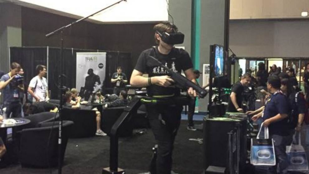 A gamer is shown using the Oculus Rift headset at E3.