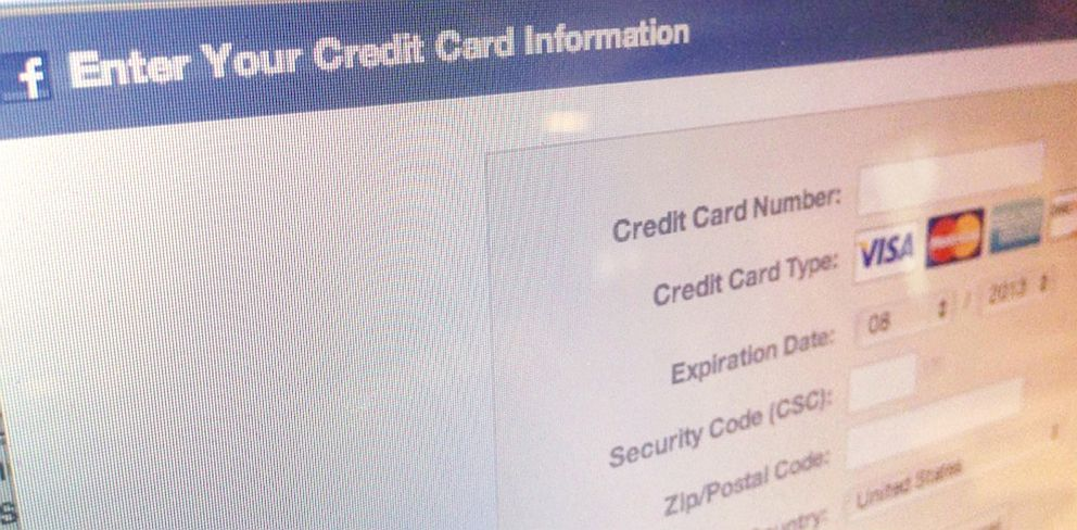 PHOTO: Facebooks credit card page.
